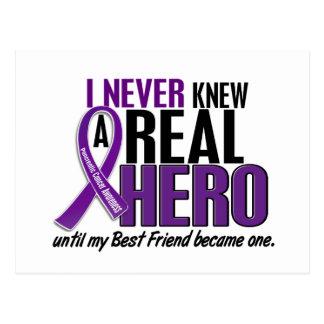 Pancreatic Cancer NEVER KNEW A HERO 2 Best Friend Postcard