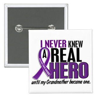 Pancreatic Cancer NEVER KNEW A HERO 2 Grandmother 2 Inch Square Button
