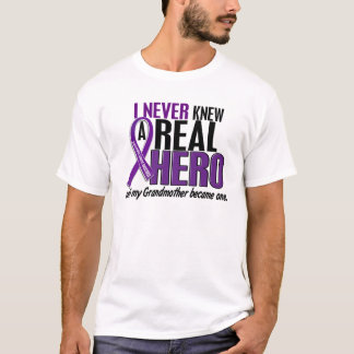 Pancreatic Cancer NEVER KNEW A HERO 2 Grandmother T-Shirt