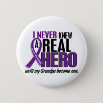 Pancreatic Cancer NEVER KNEW A HERO 2 Grandpa Button