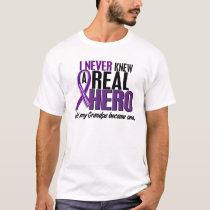 Pancreatic Cancer NEVER KNEW A HERO 2 Grandpa T-Shirt