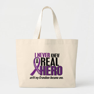 Pancreatic Cancer NEVER KNEW A HERO 2 Grandson Large Tote Bag