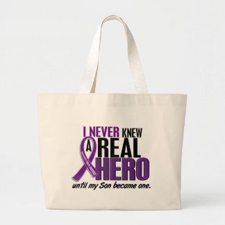 Pancreatic Cancer NEVER KNEW A HERO 2 Son Large Tote Bag