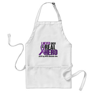 Pancreatic Cancer NEVER KNEW A HERO 2 Wife Adult Apron