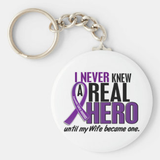Pancreatic Cancer NEVER KNEW A HERO 2 Wife Basic Round Button Keychain