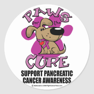 Pancreatic Cancer Paws for the Cure Classic Round Sticker