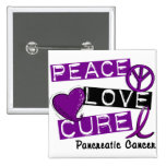 Pancreatic Cancer PEACE LOVE CURE 1 2 Inch Square Button
