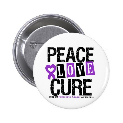 Pancreatic Cancer Peace Love Cure 2 Inch Round Button