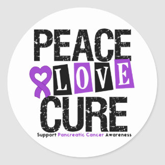 Pancreatic Cancer Peace Love Cure Classic Round Sticker