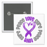 Pancreatic Cancer Peace Love Cure Ribbon 2 Inch Square Button