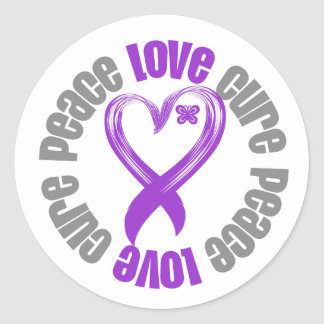 Pancreatic Cancer Peace Love Cure Ribbon Classic Round Sticker