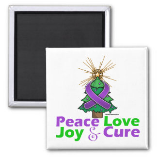 Pancreatic Cancer Peace Love Joy Cure 2 Inch Square Magnet