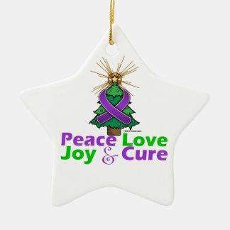 Pancreatic Cancer Peace Love Joy Cure Ornament