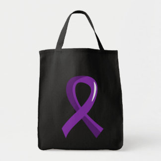 Pancreatic Cancer Purple Ribbon 3 Grocery Tote Bag