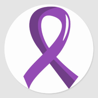 Pancreatic Cancer Purple Ribbon 3 Classic Round Sticker