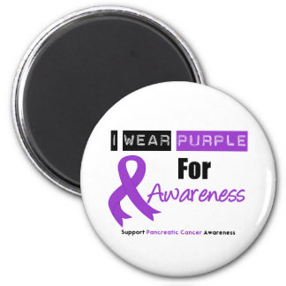 Pancreatic Cancer Purple Ribbon Awareness Fridge Magnets