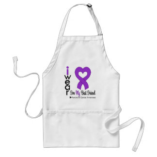 Pancreatic Cancer Purple Ribbon BEST FRIEND Adult Apron