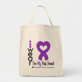 Pancreatic Cancer Purple Ribbon BEST FRIEND Grocery Tote Bag