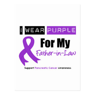 Pancreatic Cancer Purple Ribbon Father-in-Law Postcard