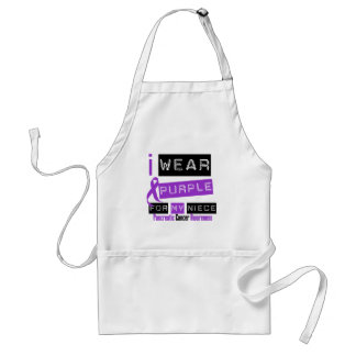 Pancreatic Cancer Purple Ribbon For My Niece Adult Apron