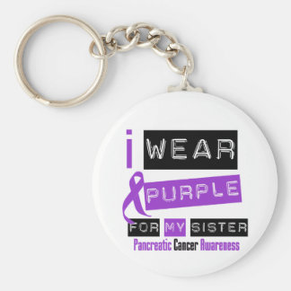 Pancreatic Cancer Purple Ribbon For My Sister Basic Round Button Keychain