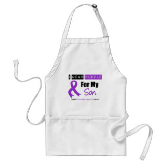Pancreatic Cancer Purple Ribbon For My Son Adult Apron