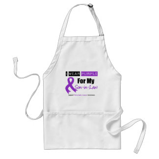 Pancreatic Cancer Purple Ribbon For My Son-in-Law Adult Apron