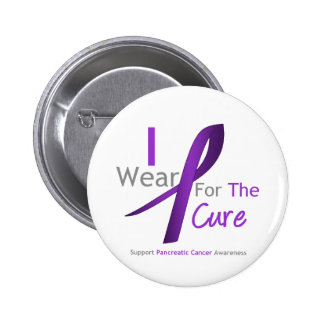 Pancreatic Cancer Purple Ribbon For The Cure Pinback Buttons