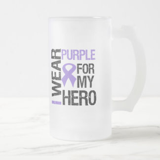 Pancreatic Cancer Purple Ribbon (Hero) 16 Oz Frosted Glass Beer Mug