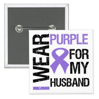 Pancreatic Cancer Purple Ribbon (Husband) Pinback Button