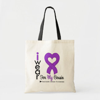 Pancreatic Cancer Purple Ribbon Support Cousin Budget Tote Bag