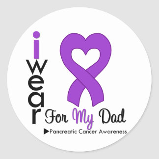 Pancreatic Cancer Purple Ribbon Support Dad Classic Round Sticker