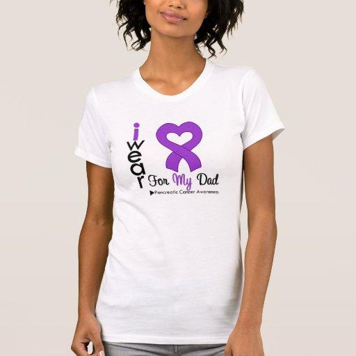 Pancreatic Cancer Purple Ribbon Support Dad Tee Shirt