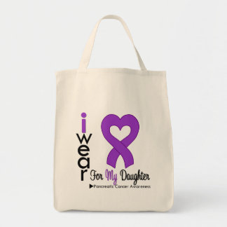 Pancreatic Cancer Purple Ribbon Support Daughter Grocery Tote Bag