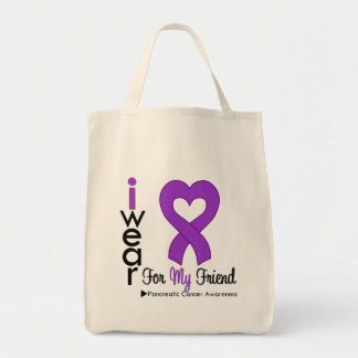 Pancreatic Cancer Purple Ribbon Support Friend Grocery Tote Bag