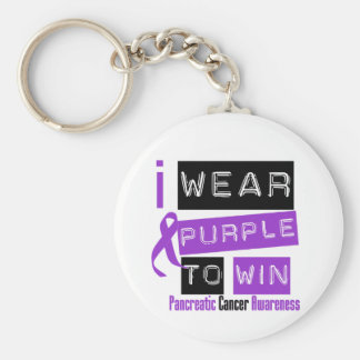 Pancreatic Cancer Purple Ribbon To Win Basic Round Button Keychain