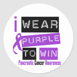 Pancreatic Cancer Purple Ribbon To Win Classic Round Sticker