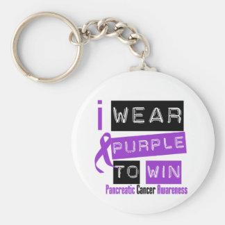 Pancreatic Cancer Purple Ribbon To Win Key Chain