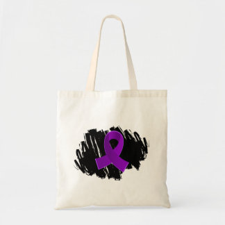 Pancreatic Cancer Purple Ribbon With Scribble Budget Tote Bag