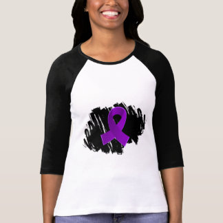 Pancreatic Cancer Purple Ribbon With Scribble T-Shirt