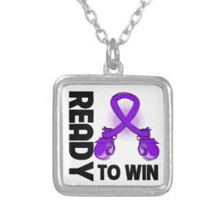 Pancreatic Cancer Ready To Win Square Pendant Necklace