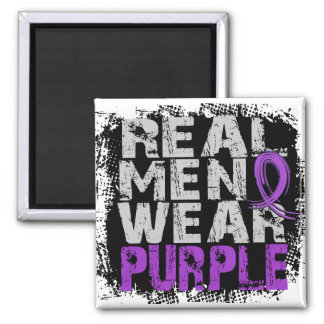 Pancreatic Cancer Real Men Wear Purple 2 Inch Square Magnet