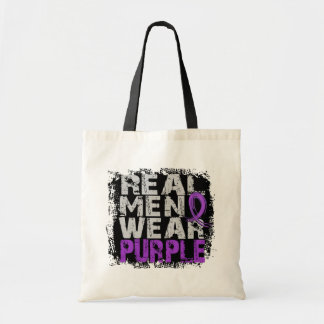 Pancreatic Cancer Real Men Wear Purple Tote Bags