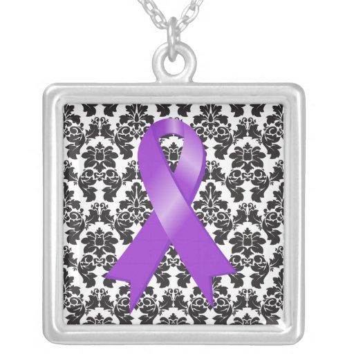 Pancreatic Cancer Ribbon Damask Deco Jewelry