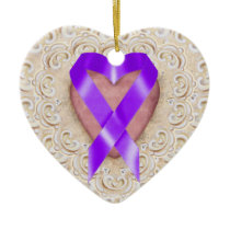 Pancreatic Cancer Ribbon From the Heart - SRF Ceramic Ornament