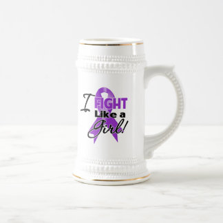 Pancreatic Cancer Ribbon - I Fight Like a Girl 18 Oz Beer Stein