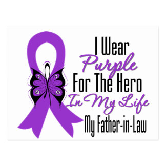 Pancreatic Cancer Ribbon My Hero My Father in Law Postcard