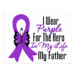 Pancreatic Cancer Ribbon My Hero My Father Postcard