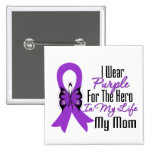Pancreatic Cancer Ribbon My Hero My Mom 2 Inch Square Button