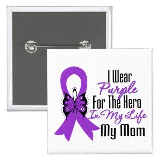 Pancreatic Cancer Ribbon My Hero My Mom Pinback Button